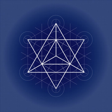 Star tetrahedron from Metatrons cube, sacred geometry vector illustration on technical paper