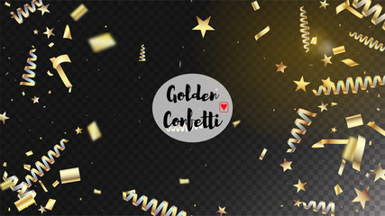 Modern New Year Confetti Realistic Falling Golden Tinsel.  Horizontal Magic Stardust Background. Cool Platinum Christmas, New Year, Birthday Party Holiday Border. New Year Confetti Golden Tinsel
