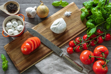 Italian food. Wooden cutting board surrounded by cooking ingredients, vegetables and mozzarella cheese on gray background.
