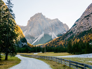 Autumn sunrise in Dolomites mountains South Tyrol