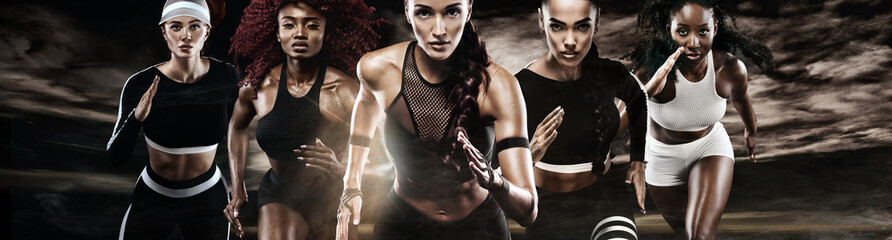 Group of five strong athletic women, sprinters, running on dark background wearing in the...