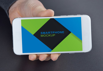 Smartphone on Gray Background Mockup