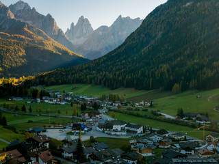 Aerial view of Sesto (Sexten) Dolomites mountains South Tyrol