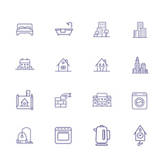 Housing line icon set. Bedroom, building, kettle. Construction concept. Can be used for topics like real estate development, apartment, rent, residential property