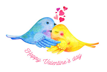Love birds couple cuddling with hearts and wishing. Hand drawn watercolor illustration for St Valentine's day