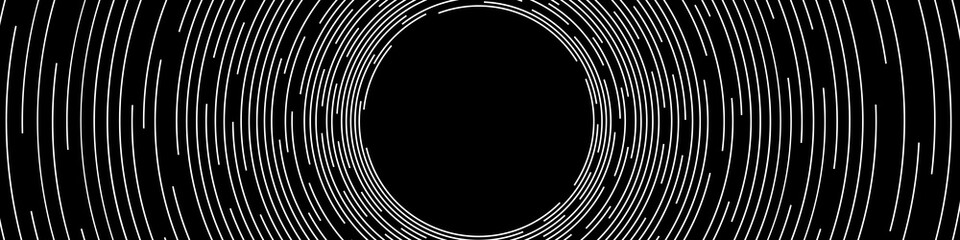 Abstract White Concentric Round Lines on Black Background - Wide Vector Illustration Wall mural