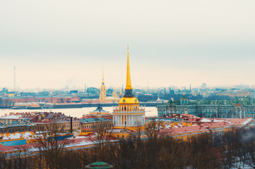 View on Admiralty Building in winter in St Petersburg, Russia