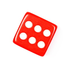 Red gambling dice isolated on white background, top view