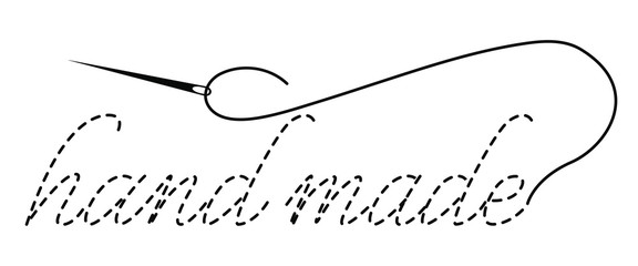 Silhouette of the words Hand Made with interrupted contour. Vector illustration with embroidery thread and needle on white background.