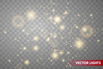 Glow light effect. Gold sparkle dust.