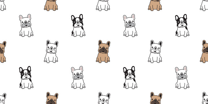 dog seamless pattern vector french bulldog sitting dog breed paw cartoon scarf isolated tile background repeat wallpaper illustration
