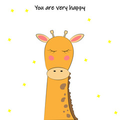 greeting card with happy giraffe and inscription