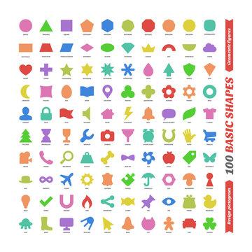 Large color vector set basic shapes. Kids flat geometric figures school collection. Isolated design pictogram. Simple  shape. Circle, triangle, square, trapezium, parallelogram, rhombus, superellipse.