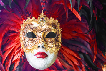 Fotobehang Carnaval Venetian masks decorated with feathers