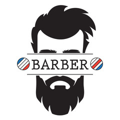 Barber Shop vintage retro label logo icon vector illustration.