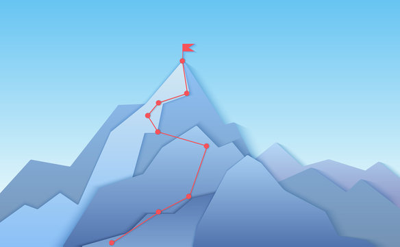 Mountain climbing route to peak landscape. Climbing pointed road to layered paper style mountain top. Business progress path to peak of success concept vector illustration.