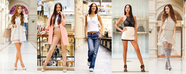 Wall Mural - Collage of five different young women in bright fashionable clothes