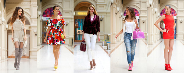 Collage of five different young women in bright fashionable clothes