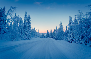 Winter road view from Sotkamo, Finland.
