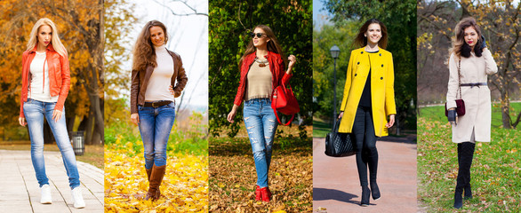Wall Mural - Collage autumn street fashion women