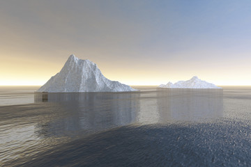 Icebergs, a polar landscape, reflection in the sea and haze in the sky.