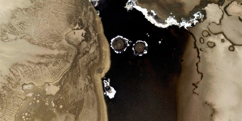 black gold, polluted desert sand, abstract photography of the deserts of Africa from the air, aerial view, abstract expressionism, contemporary photographic art,