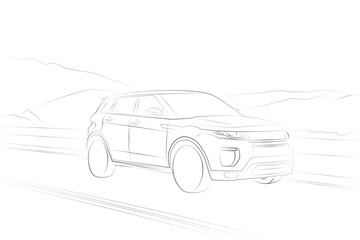 Range Rover Evoque SUV car line drawing