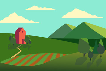Vector illustration of fields landscape with a green hills, blue sky, farmhouse and forest in flat style.