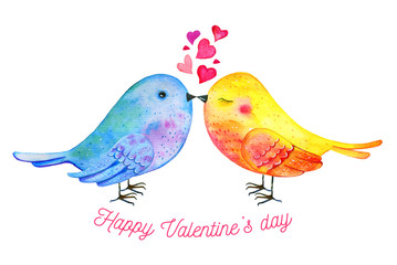 Love birds couple with hearts and wishing. Hand drawn watercolor illustration for St Valentine's day