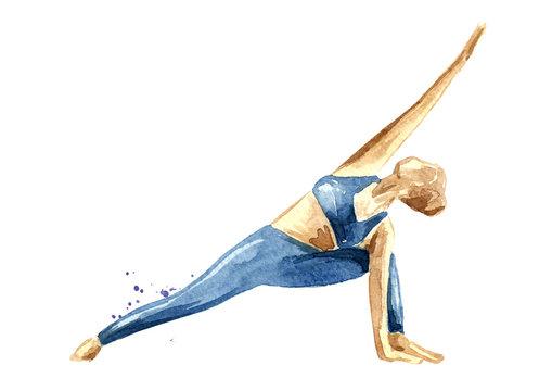 Yoga concept. Utthita parsvakonasana. Woman practice. Watercolor hand drawn illustration  isolated on white background