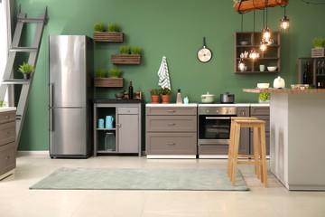 Stylish interior of modern kitchen