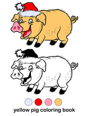 Coloring book for children, yellow pig.