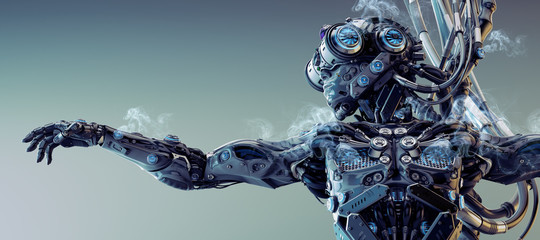 Robot musician with records on breast, 3d rendering