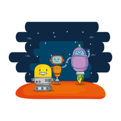 group of cute robots with universe background
