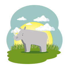 cute rhino in the field scene