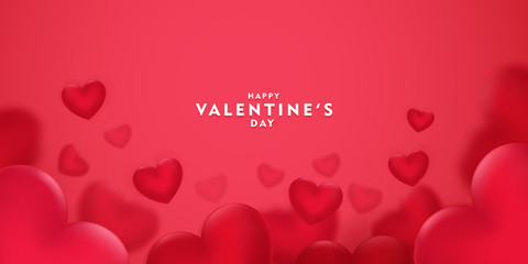 Happy saint valentine's day, 3d red hearts blur efect design, Celebration card, vector illustration