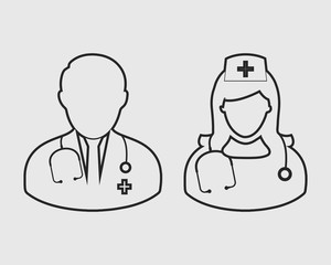Medical Team line Icon  on gray background
