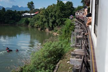 Kanchanaburi, Thailand - Nov 2018: The Death Railway running along the River Kwai