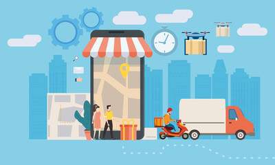 Concept delivery service, landing. Delivery truck, scooter, drone, goes on the way to tiny shoppers, smartphone. Service, Internet delivery, idea, vector, illustration for web sites, shops, animation