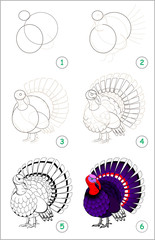 Educational page for kids shows how to learn step by step to draw a cute turkey. Back to school. Developing children skills for drawing and coloring. Vector cartoon image.