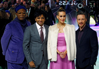 """Actors Samuel L. Jackson, Sarah Paulson, James McAvoy and director M. Night Shyamalan attend the European premiere of """"Glass"""" in London"""
