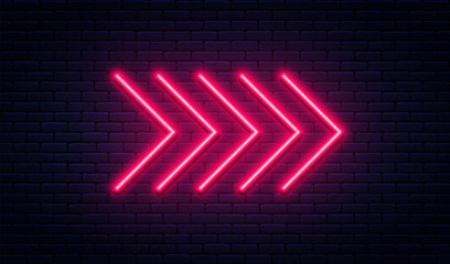 Neon arrow sign. Glowing neon arrow pointer on brick wall background. Retro signboard with bright neon tubes Fotomurales