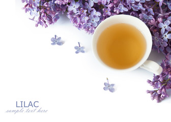 hot tea and lilac flowers isolated on white background