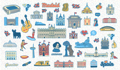 Madrid (Spain) inspired colorful hand drawn landmarks and symbols set. Travel spanish attractions flat cliparts. Collection of isolated vector illustrations of spanish buildings, monuments and signs