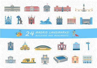 Set of Madrid city most famous buildings and monuments. Colorful spanish landmarks flat cliparts. Collection of isolated vector illustrations.