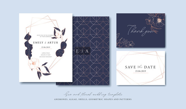 Set of cards with sea elements, flowers, leaves, pink gold geometrical frames and pattern. Wedding ornament concept. Vector decorative cards. Thank you card. Save the date card.