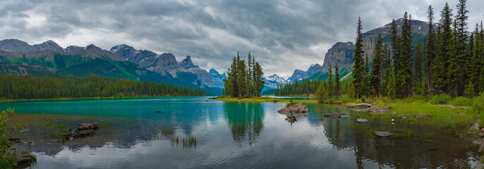 Panorama Canada forest landscape of Spirit Island with big mountain in the background, Alberta, Canada.
