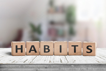 Papiers peints Positive Typography What is your habits? Sign with the word habits