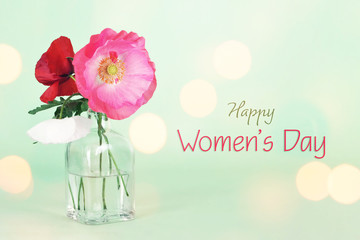 Women's Day card with poppy flowers in the vase