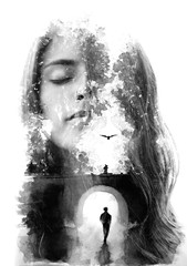 Paintography. Double exposure portrait combined with hand drawn painting tells a story of two people using symbols and unique technique